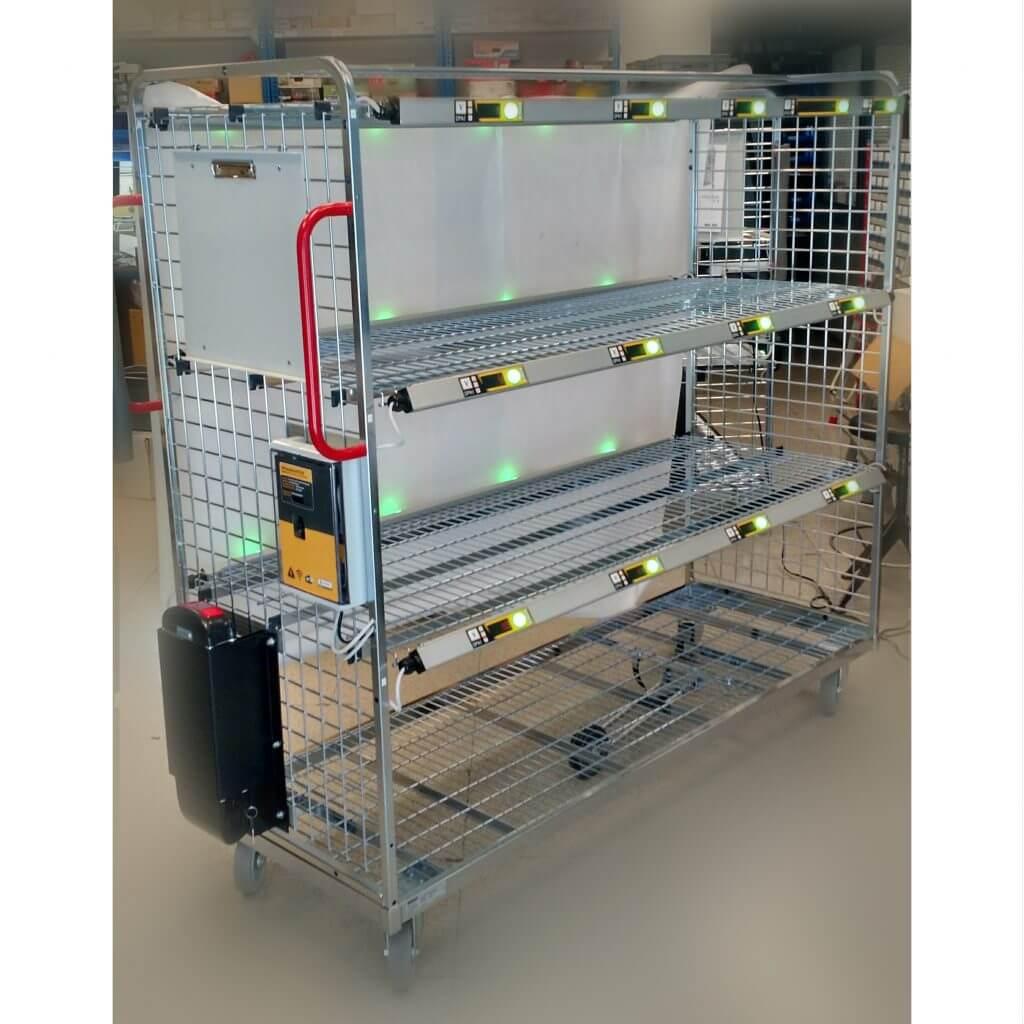 Carros de Picking para preparación de pedidos, esta solución integra WIFI para su gestión